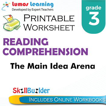 The Main Idea Arena Printable Worksheet, Grade 3