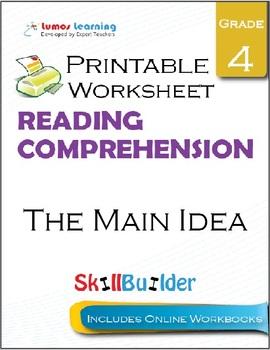 The Main Idea Printable Worksheet, Grade 4