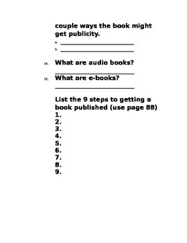 The Making of a Book Questions (Journeys Common Core Grade 6 Unit 1 Lesson 3)