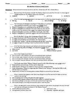 The Maltese Falcon Film (1941) 20-Question Matching and Multiple Choice Quiz