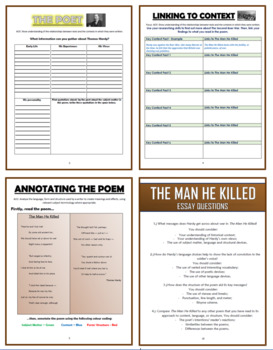 The Man He Killed - Thomas Hardy - Comprehension Activities Booklet!