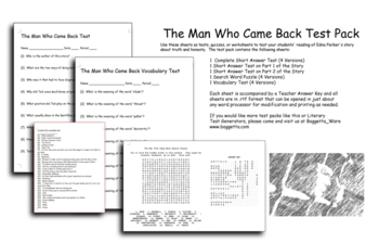The Man Who Came Back Test Pack -- Edna Ferber Short Story