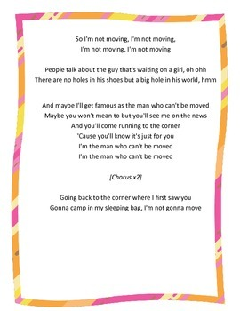 The Man Who Can't Be Moved:  Close Reading Song Lyrics