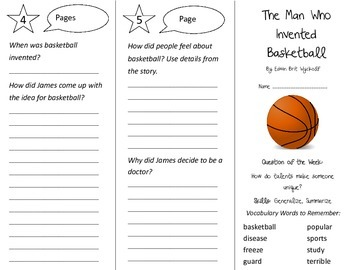 The Man Who Invented Basketball Trifold - Reading Street 3rd Grade Unit 4 Week 1