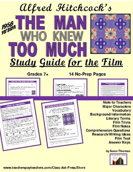 The Man Who Knew Too Much: Study Guide for Alfred Hitchcock's Film (13 p., $10)
