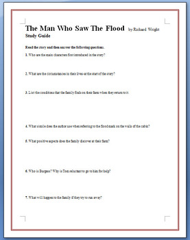 The Man Who Saw The Flood by Richard Wright - 11 questions