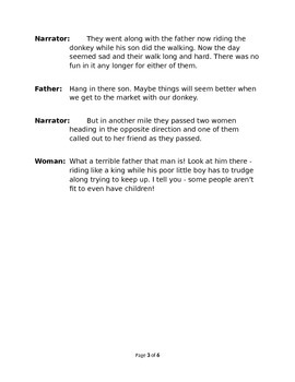 The Man, the Boy, and the Donkey - Small Group Reader's Theater by Aesop