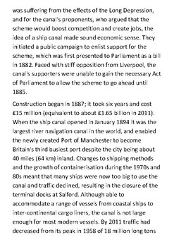 The Manchester Ship Canal Handout