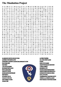 The Manhatten Project Word Search