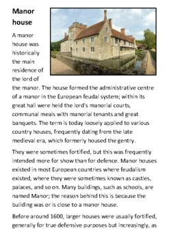 The Manor House Handout