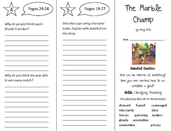 The Marble Champ Trifold - Open Court 5th Grade Unit 1 Lesson 1