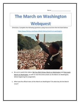 The March on Washington- Webquest and Video Analysis with Key