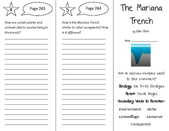 The Mariana Trench Trifold - 5th Grade Literacy by Design Theme 8