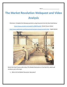 The Market Revolution in the United States- Webquest and Video Analysis with Key