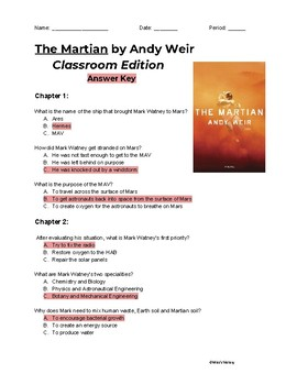 The Martian (Classroom Edition) Chapters 1-5 Reading Comprehension Questions