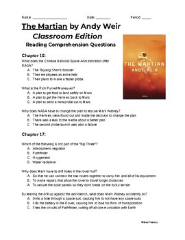 The Martian (Classroom Edition) Chapters 16-20 Reading Comprehension Questions