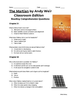 The Martian (Classroom Edition) Chapters 21-26 Reading Comprehension Questions