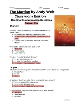 The Martian (Classroom Edition) Chapters 6-10 Reading Comprehension Questions