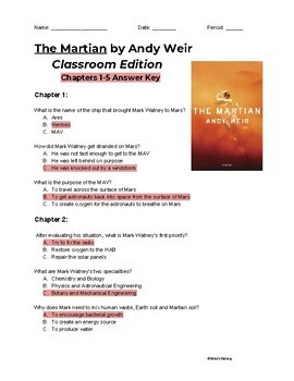 The Martian Classroom Edition Reading Comprehension Questions (ENTIRE BOOK)