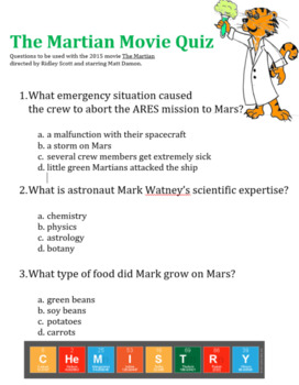 the martian movie questions by chemistry with dr kristie teachers pay teachers. Black Bedroom Furniture Sets. Home Design Ideas