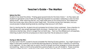 Lesson plan for roving mars movie