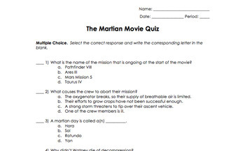 the martian movie worksheet by science classy teachers pay teachers. Black Bedroom Furniture Sets. Home Design Ideas