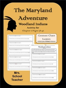 The Maryland Adventure, Chapter 2 Activity, Woodland Indians