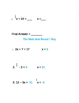 The Mash Dash--Two Step Equations Activity