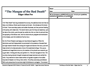 """""""Masque of the Red Death"""" by Edgar Allan Poe: Annotation Organizer"""