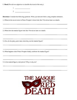 The Masque of the Red Death Review Worksheet