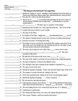 masque of the red death worksheet answer key sewdarncute. Black Bedroom Furniture Sets. Home Design Ideas