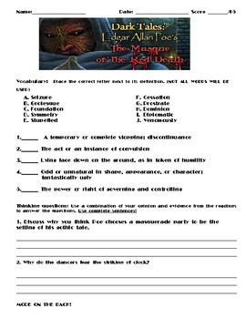 The Masque of the Red Death by Edgar Allan Poe Assignment