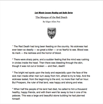 The Masque of the Red Death by Edgar Allen Poe Last Minute Lessons