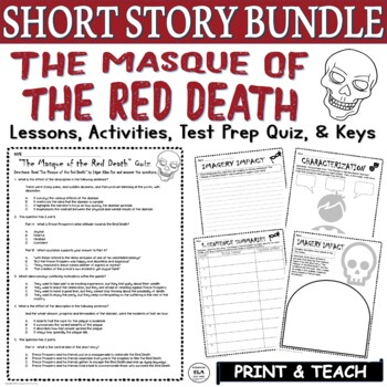 The Masque of the Red Death by Poe: Common Core ELA Test Prep Quiz & Activities