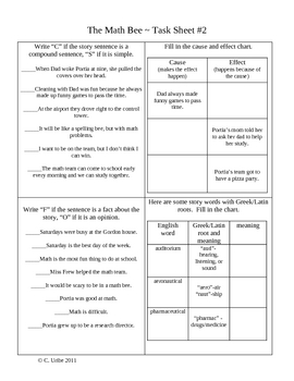 The Math Bee Activity Sheets ~ Reader's Library