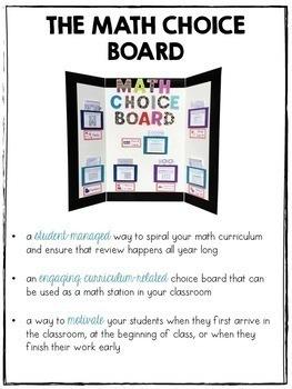 The Math Choice Board {Grades 1-2 Combo Pack}