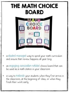 The Math Choice Board {Third Grade}