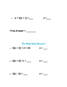 The Math Dash--Multi-Step Equations