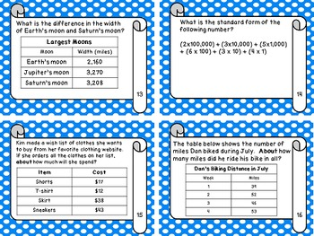 Review Addition, Subtraction, Place Value Task Cards (The Math Files) - Grade 4