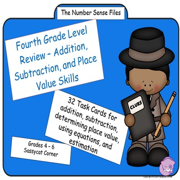 Review Addition, Subtraction, Place Value Task Cards (The