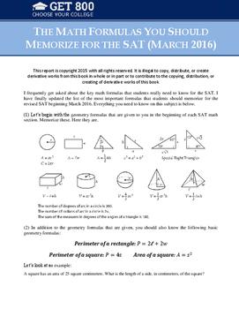 The Math Formulas You Should Memorize for the SAT