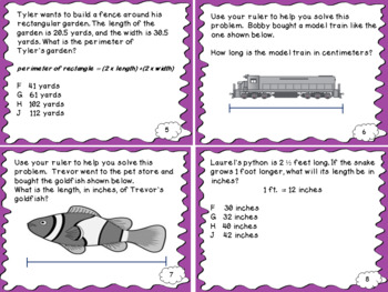 Measurement Strand Test Prep and Review Task Cards