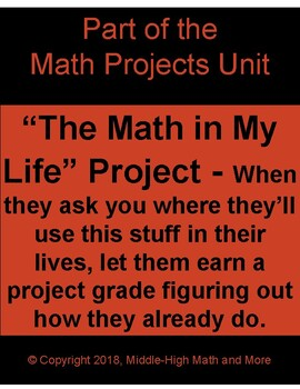 The Math in My Life Project - Where Students Find the Math in Their Lives