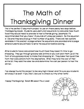 The Math of Thanksgiving Dinner