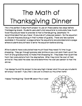 The Math of Thanksgiving Dinner