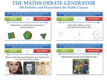 The Maths Debate Generator (100 Debates and Discussions + Randomiser) [P4C]