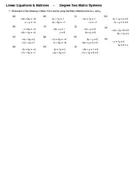 Algebra -- The Matrix Method