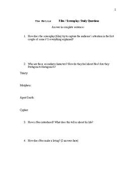 The Matrix: Study Questions & Essay Topic