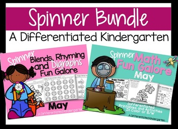The May Spinner Bundle-Math and Digraphs/Blends/Rhyming Printables Galore