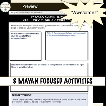 Maya Mini Bundle 8 Activities for Maya Inca Aztec Unit RECENTLY UPDATED